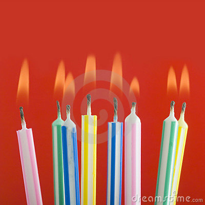 Close up of birthday candles