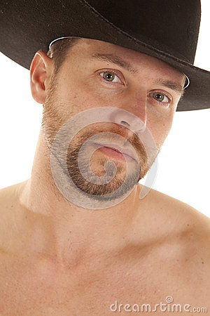 Close up black hat face