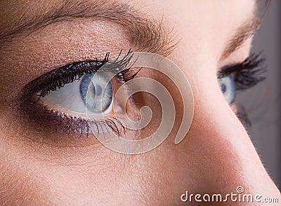 Close-up of blue eyes