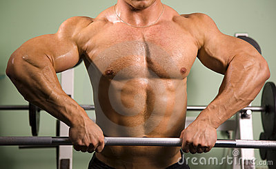 Close-up of a bodybuilder lifting weights