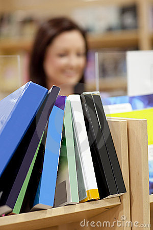 Close-up of a book shelf in a library