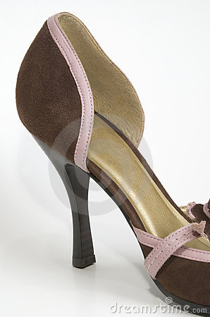 close up of brown high heel