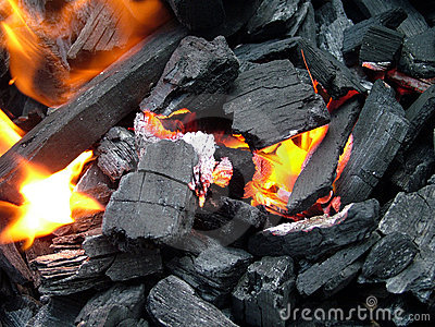 Close up of burning coal fire