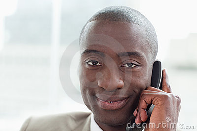 Close up of a businessman on the phone