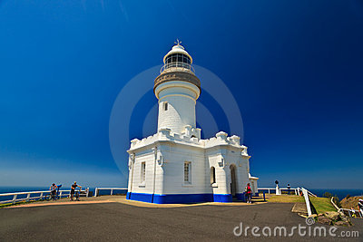 Close up of Byron Bay Lighthouse with Cyclists