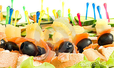 Close-up of canape with olives