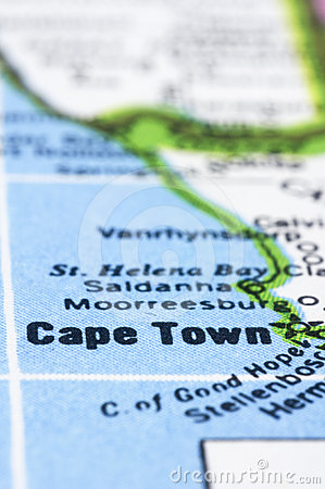 Close up of Cape town on map, south africa