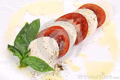 Close up of caprese salad.