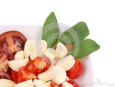Close up of caprese salad. Macro.