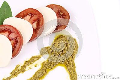 Close up of caprese salad.