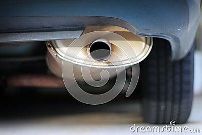Close up of a car exhaust muffler