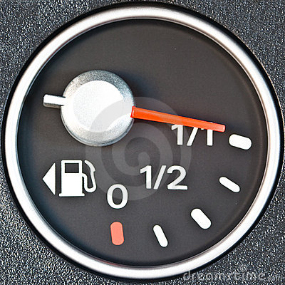 Close up of car fuel meter