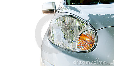 Close up of car headlight