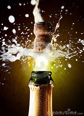 Close Up Of Champagne Cork Pop Royalty Free Stock