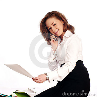 Close-up of a cheerful businesswoman