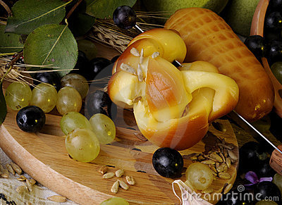 Close-up with cheese and fruits