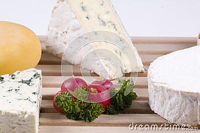 Close-up of cheeses