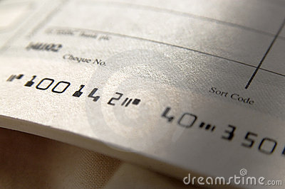 Close up of cheque book