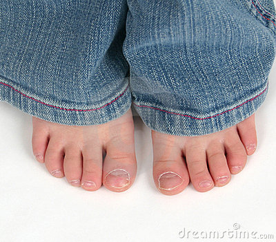 Close up of child s toes
