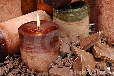 Close up Chocolate Scented Candles