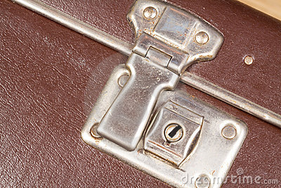 Close up of a clasp of an old fashioned suitcase