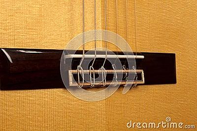 Close up of classical guitar bridge