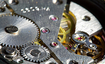 Close-up clock mechanism, shalow dof