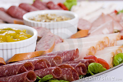 Close Up Of Cold Meat Catering Platter