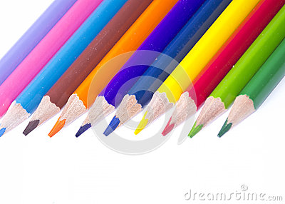 Close up of color pencils