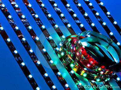 Close up of colored and white LEDs
