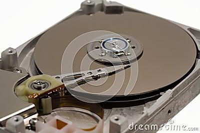 Close up of a computer hard drive internal