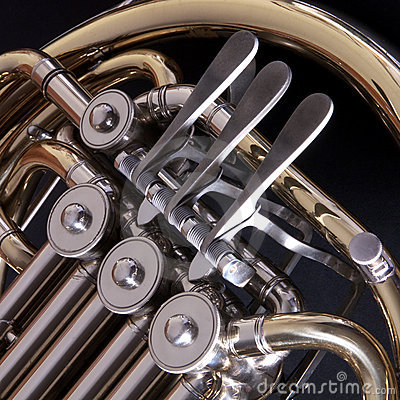 Close up of a concert french horn