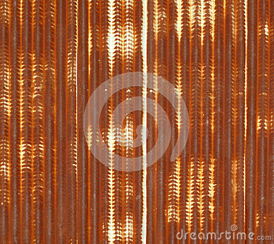 Close up of corrugated metal with rust