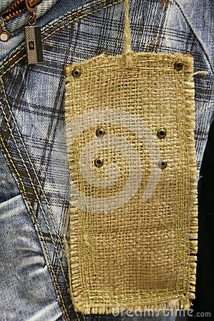 Close-up of cotton jeans