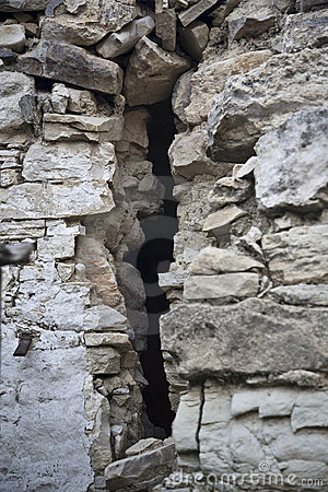 Close up of crack in old wall