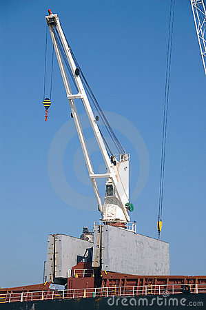 Close up of crane on docks