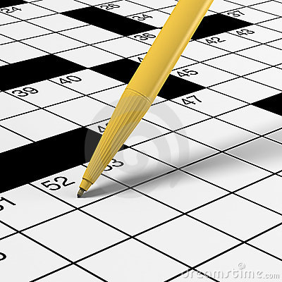Close up of crossword puzzle with pen