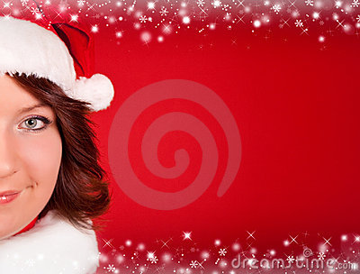 Close up of cute girl in santa claus cloth