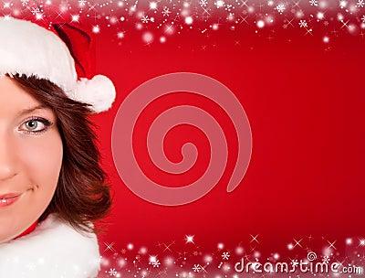 Close up of cute girl in santa claus cloth