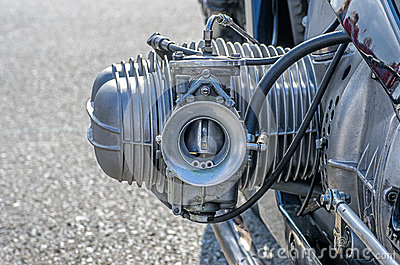 Close-up of a cylinder on a motorcycle