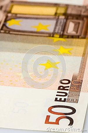 Close up da cédula do Euro 50