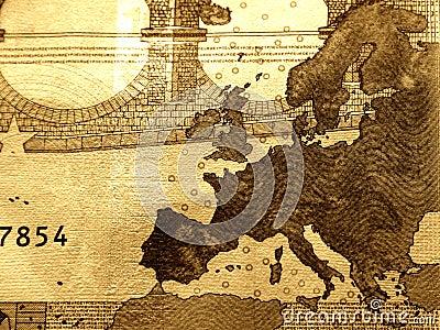 Close-up da conta de 10 euro, detalhado