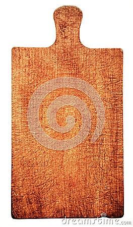 Close-up de placa de corte de madeira gasta, isolado