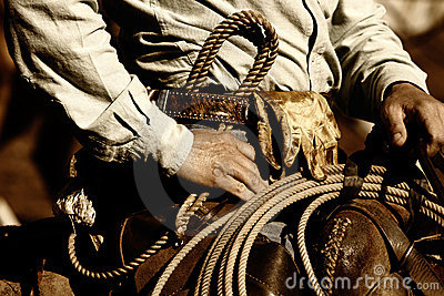 Close-up de trabalho do cowboy