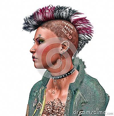 Close-up De Uma Menina Do Punk Com Cabelo Brilhantemente Colorido