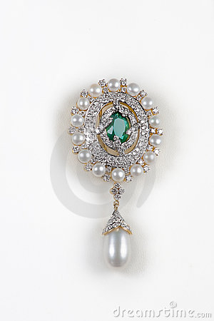 Close-up of diamond pearl earring