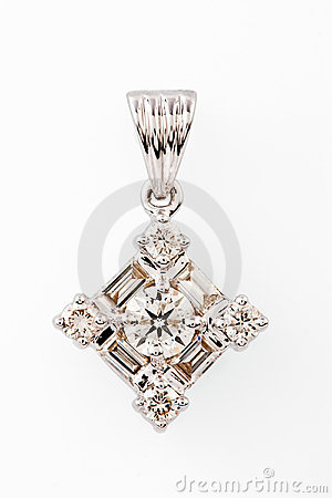 Close up of diamond pendant or earring