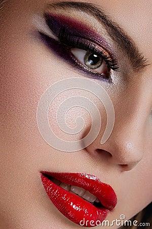 Close-up die van make-up is ontsproten