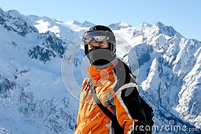 Close up do esquiador