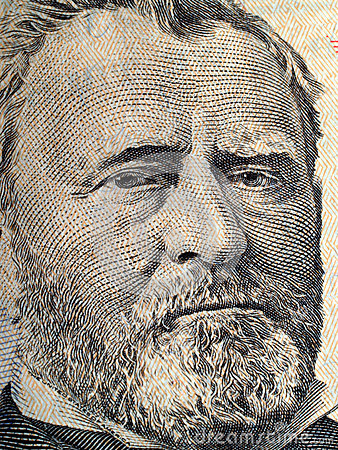 Close up do retrato de Grant em E.U. cinqüênta dólares